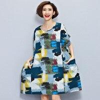 2017 Women's New Summer Dress Plus Size Loose Graffiti Printing Cotton A-line Dress Casual Breathable Cotton Linen Dress Pockets
