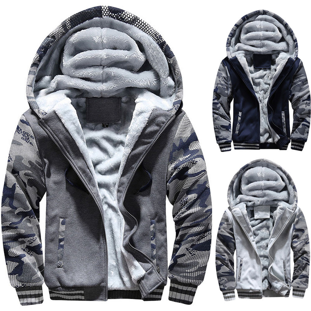 Men Jacket Mens Men Winter Warm Fleece Hooded Zipper Sweater Jacket Men 2020  Outwear Coat Plus Size Casual Mens Male Coats