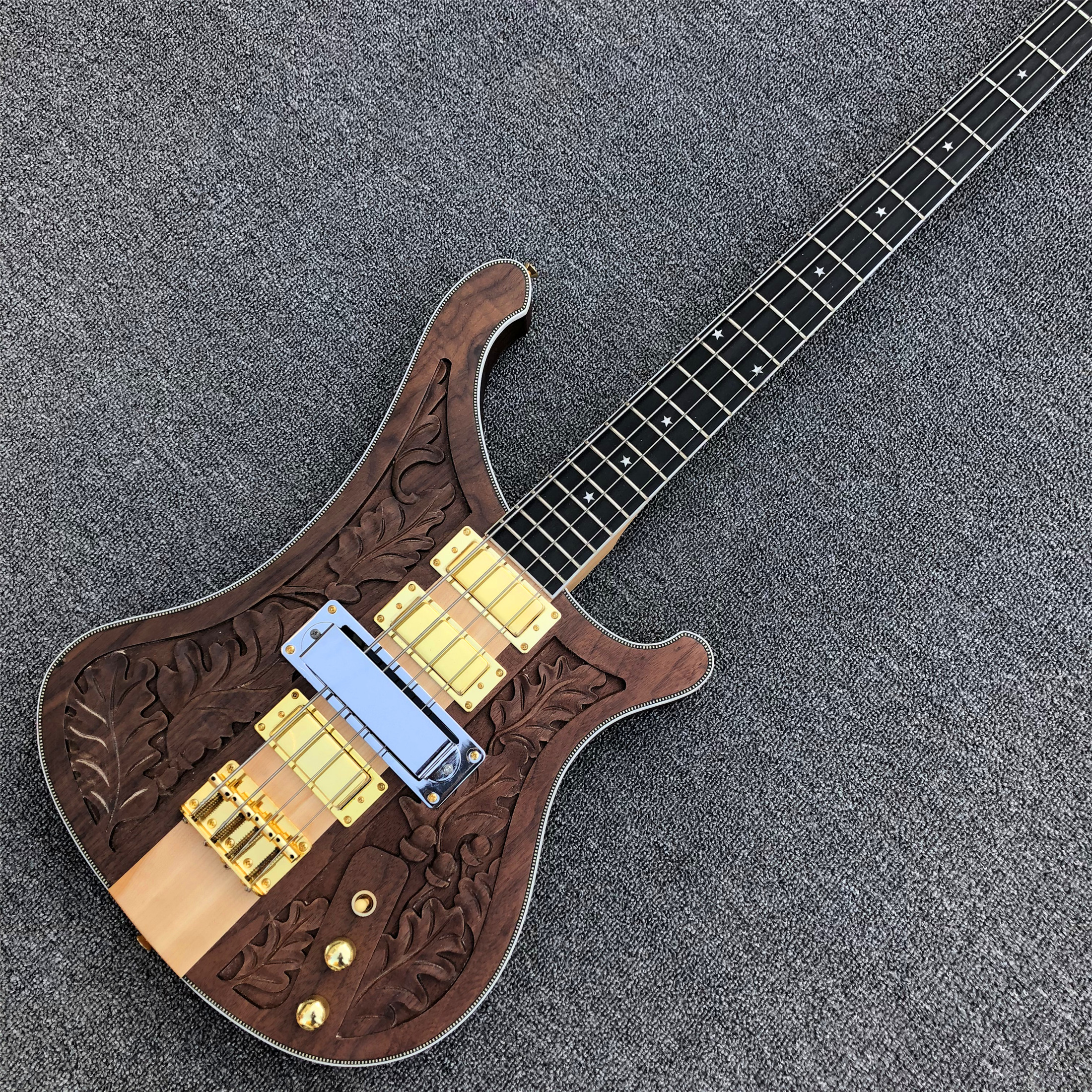 top quality ricken 4 strings 4003 electric bass guitar neck through body walnut electric bass. Black Bedroom Furniture Sets. Home Design Ideas