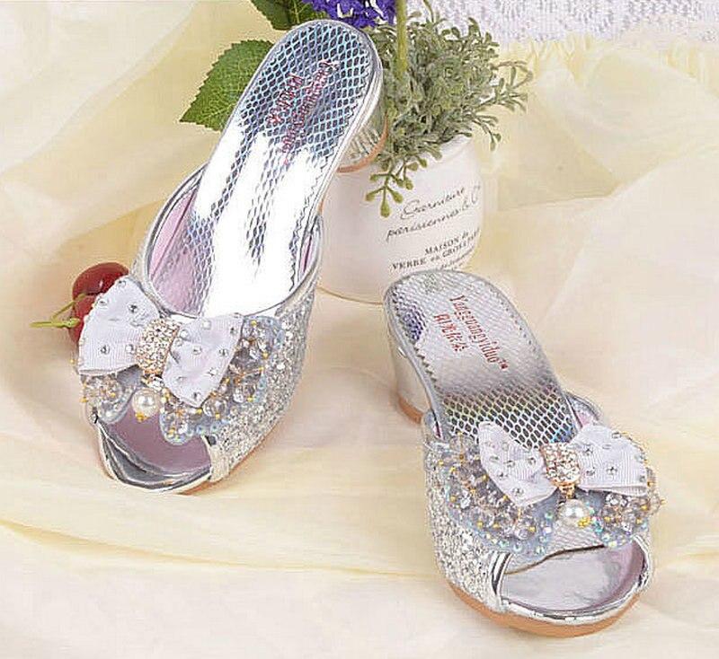 2018 Summer Children's Kids Girls Princess Slippers Tacones altos - Zapatos de niños