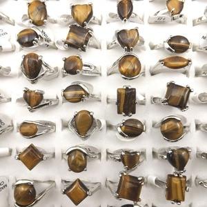 Image 3 - משלוח חינם טבעי עין נמר אבן טבעת נשים טבעות לקידום מתנה 50 יח\חבילה סיטונאי