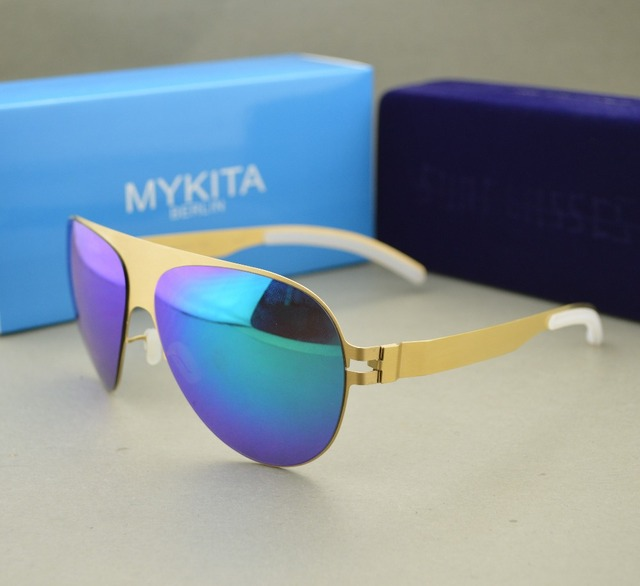 HOT! best quality mykita franz with TRANSPARENT RUBBER golden blue  Sunglasses women and men sea beach sunglasses b82284272e168