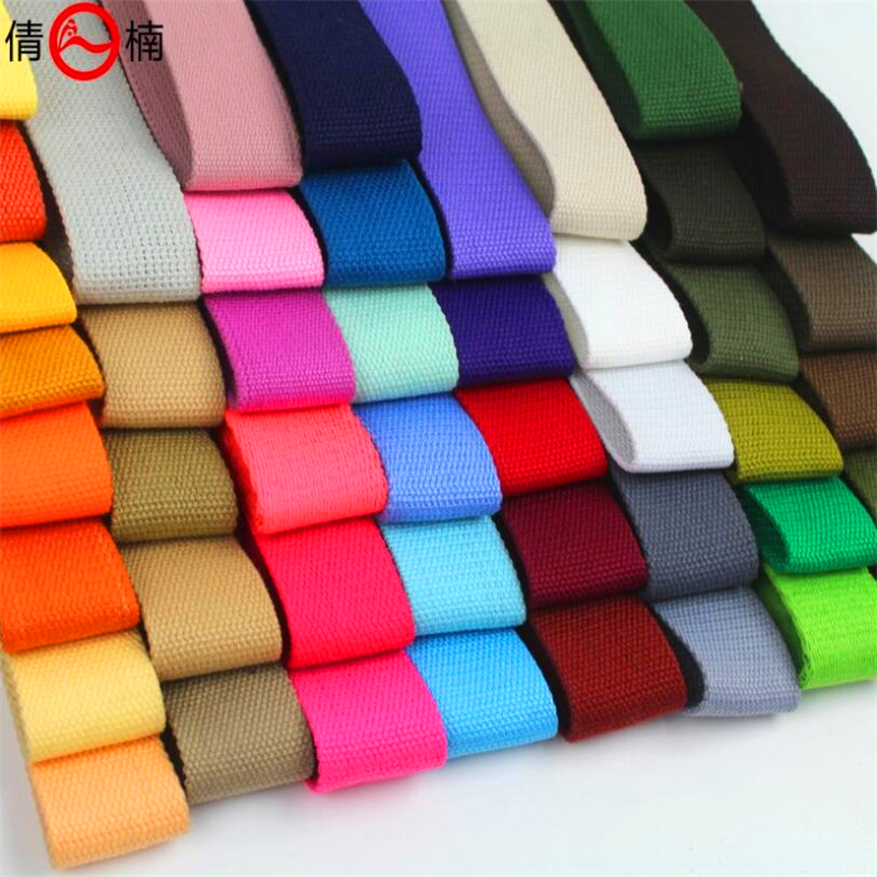 1 1 2 38MM Width 2mm Thickness Plain Color polyester cotton canvas Webbing Ribbon Belt Strap