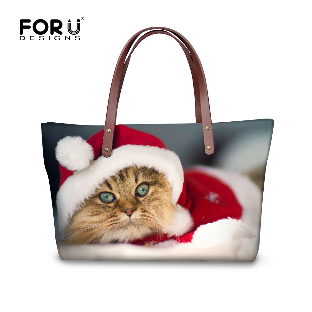 Wholesale Cute Christmas Cats Dogs Women Handbags Shopping Beach Tote Bolsas For Girls Xmas Gift Casual Portable Bag FORUDESIGNS temptations mixups surfers delight flavor treats for cats pouch mega bag