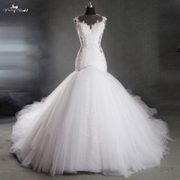 TW0181 منتفخ قطار طويل فاخر مثير عارية الذراعين حورية البحر فستان الزفاف مخصص