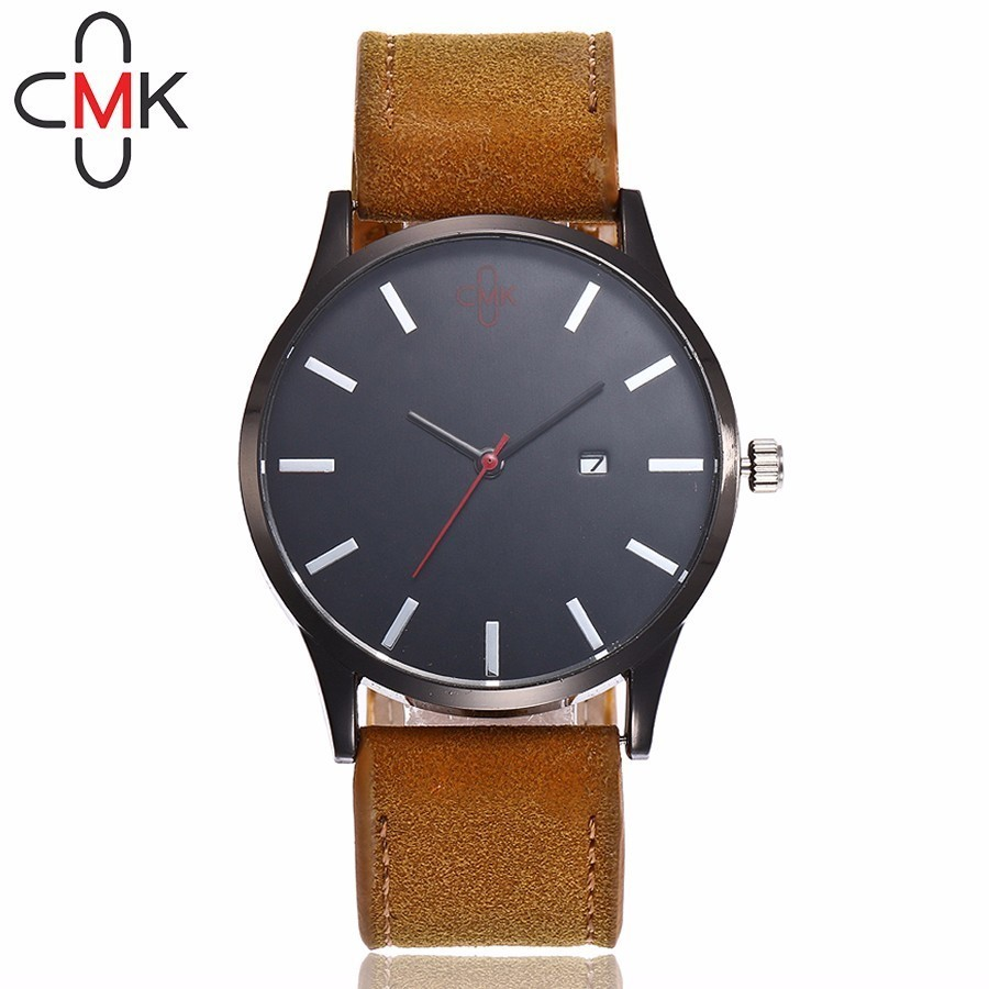 CMK Men Military Watch Top Brand Luxury Men's Wristwatches Leather Strap Calendar Quartz Watches Gift Clock Relogio Masculino
