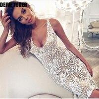 DEIVE TEGER koronki Kwiatowy białej sukni aplikacja Elegancki Bandaż Kobiety ołówek spaghetti strap Dress translucent HL3106