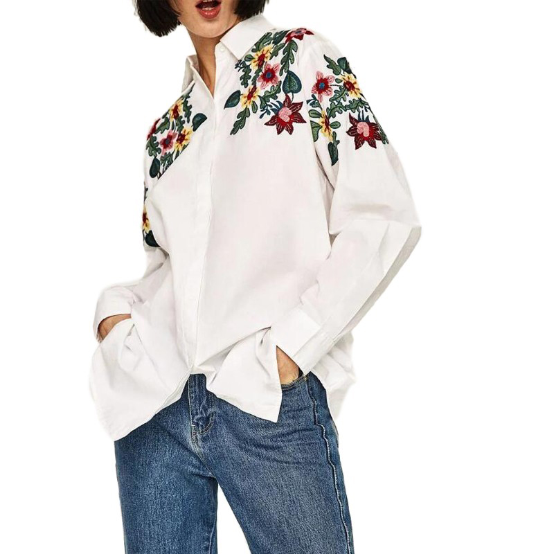 White Shirt Women Fashion Flowers Embroidery Turn Down