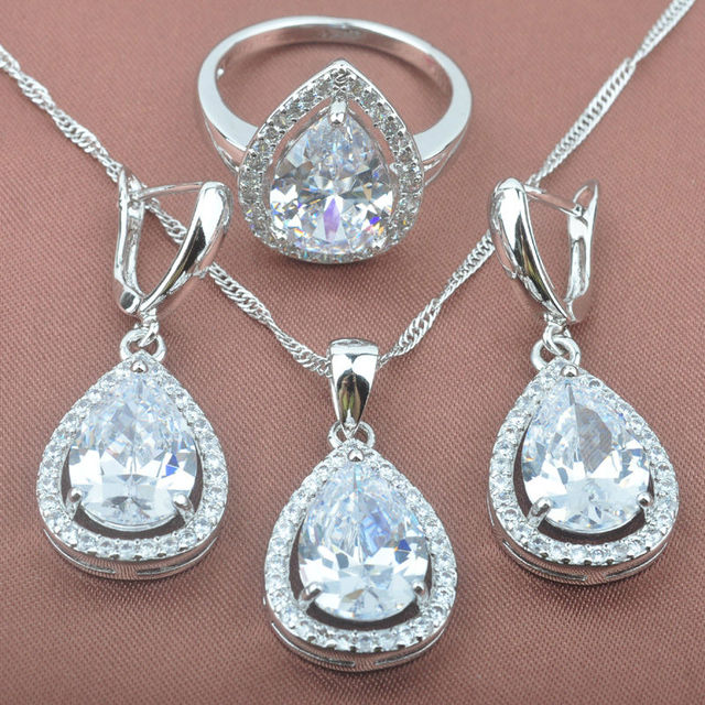 Water Drop White Cubic Zirconia Women's Stamped  925 Silver Jewelry Sets Necklace Pendant Earrings Rings Free Shipping TS008
