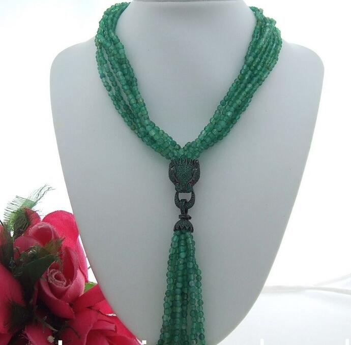 18 7 row Green bead Necklace CZ Pendant bead bar layered pendant necklace page 7
