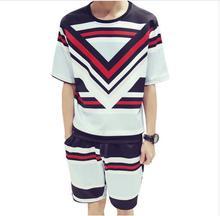 hot deal buy mens short sleeve baroque print t-shirt shorts sets
