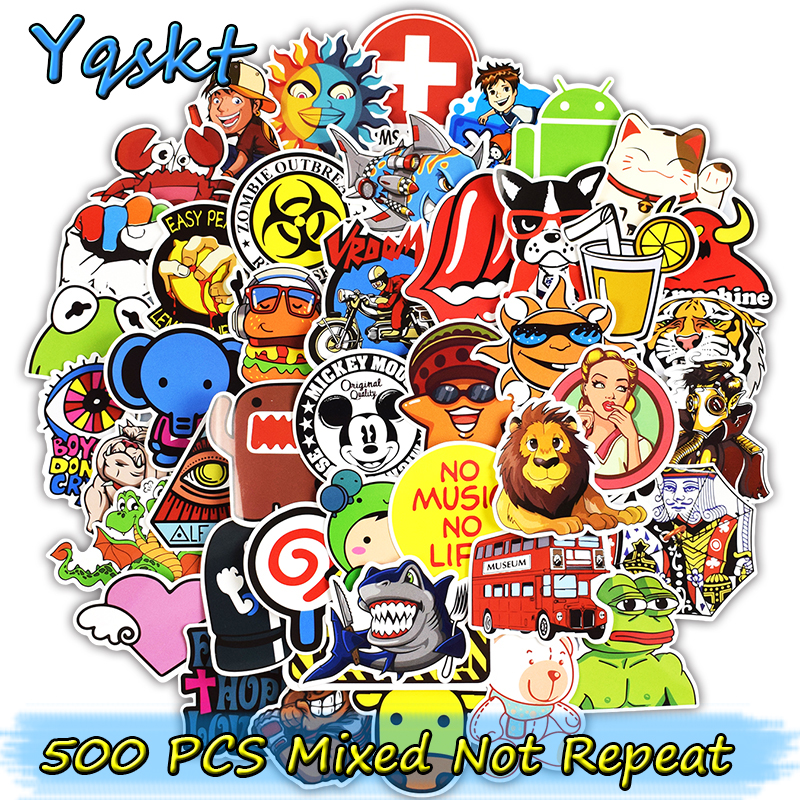 500 Pcs Mixed Stickers for Skateboard Laptop Luggage Bicycle Motorcycle Car Styling Home Decor Decals Funny Waterproof Sticker