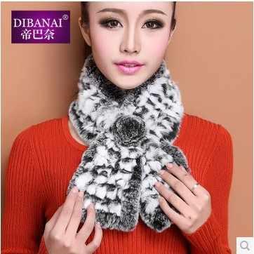 (TopFurMall) осенне-зимний детский натуральный вязаный шарф из кроличьего меха Рекс женский меховой палантин шейный глушитель VK1418