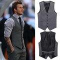 El nuevo 2016 de los hombres de ocio de moda traje de chaleco/de Los Hombres de la boda banquete traje de caballero chaleco/Beckham con traje chaleco con cuello en v de los hombres