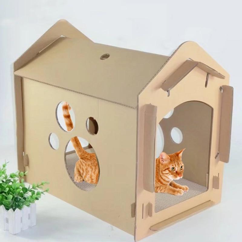 Япония Стиль домашних кошек гофрированные Бумага картонной дом милый утолщаются нуля игрушки для котенка прочный царапин доска кошки игру