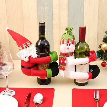 New Red Wine Bottle Cover Lovely Christmas Santa Claus Snowman Home Wine Bottles Hold Covers Christmas Decoration Ornaments