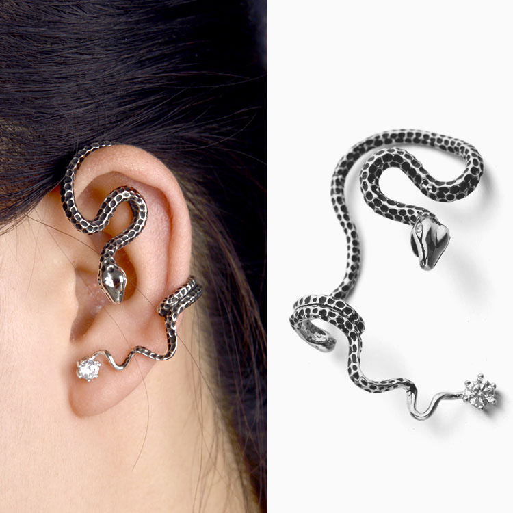 Snake charm beauty without ear holes Single earring jewelry Crystal from Swarovskis Earring for Women Personality exaggerates