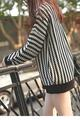 2016 Regular Pullovers Moon New Arrival Casual High Neck Oversize Warm Clothing Waves Striped Bishop Sleeve Turtleneck Lc27610