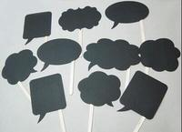 1 Set 10pcs Blank Black Cardboard Photo Booth Prop Chalk Board Wedding Party Decoration