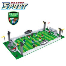 World Football field building blocks Soccer Player city cup game molel Figure Bricks compatible  kid Toys For Children gift