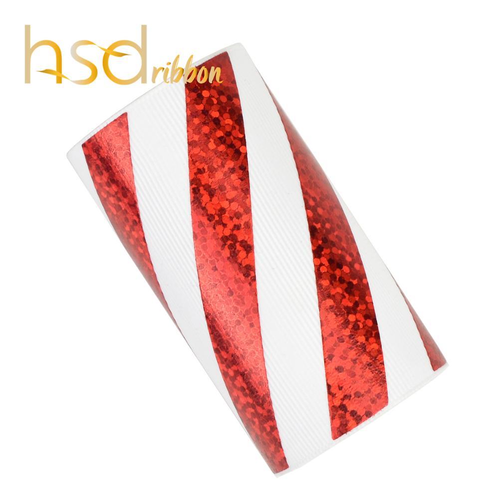 HSDRibbon 75mm 3 cal czerwony folia laserowa Twill na stałe białe ryps wstążka w Wstążki od Dom i ogród na  Grupa 1