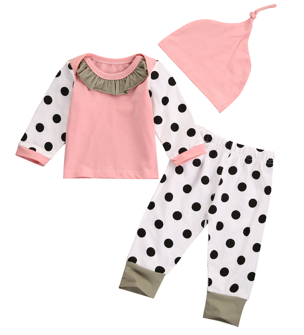 Pink Newborn Baby Boy Girl Outfits Tops Dot Pants Legging Hat Clothes 3PCS Set 3pcs baby boy clothing set newborn baby girls clothes i ll eat you up i love you so rompers pants hat toddle outfits