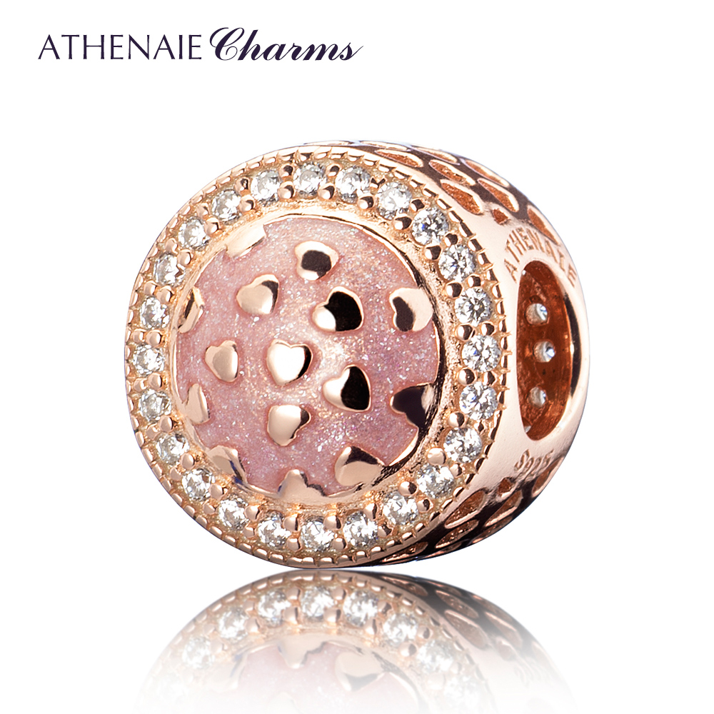 ATHENAIE 100% Real 925 Sterling Silver 3 Colors Pave Clear CZ RADIANT Hearts Enamel Openwork Charm Fit European Bracelets