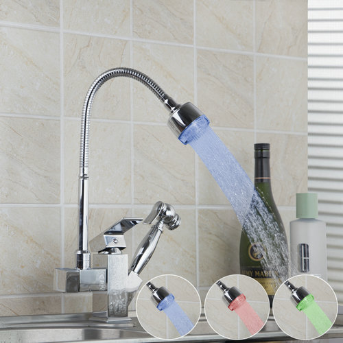 Double Function LED Light Pull Out Chrome Swivel Single Handle 92347A Deck Mounted Basin Sink Kitchen