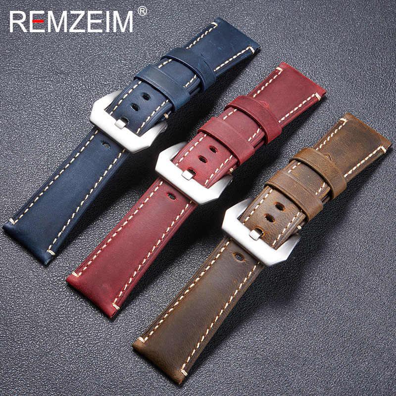 גבוהה באיכות בציר מטורף סוס עור אמיתי רצועת השעון אדום כחול חום שעון רצועות 22mm 24mm 26mm צמיד מוצק אבזם