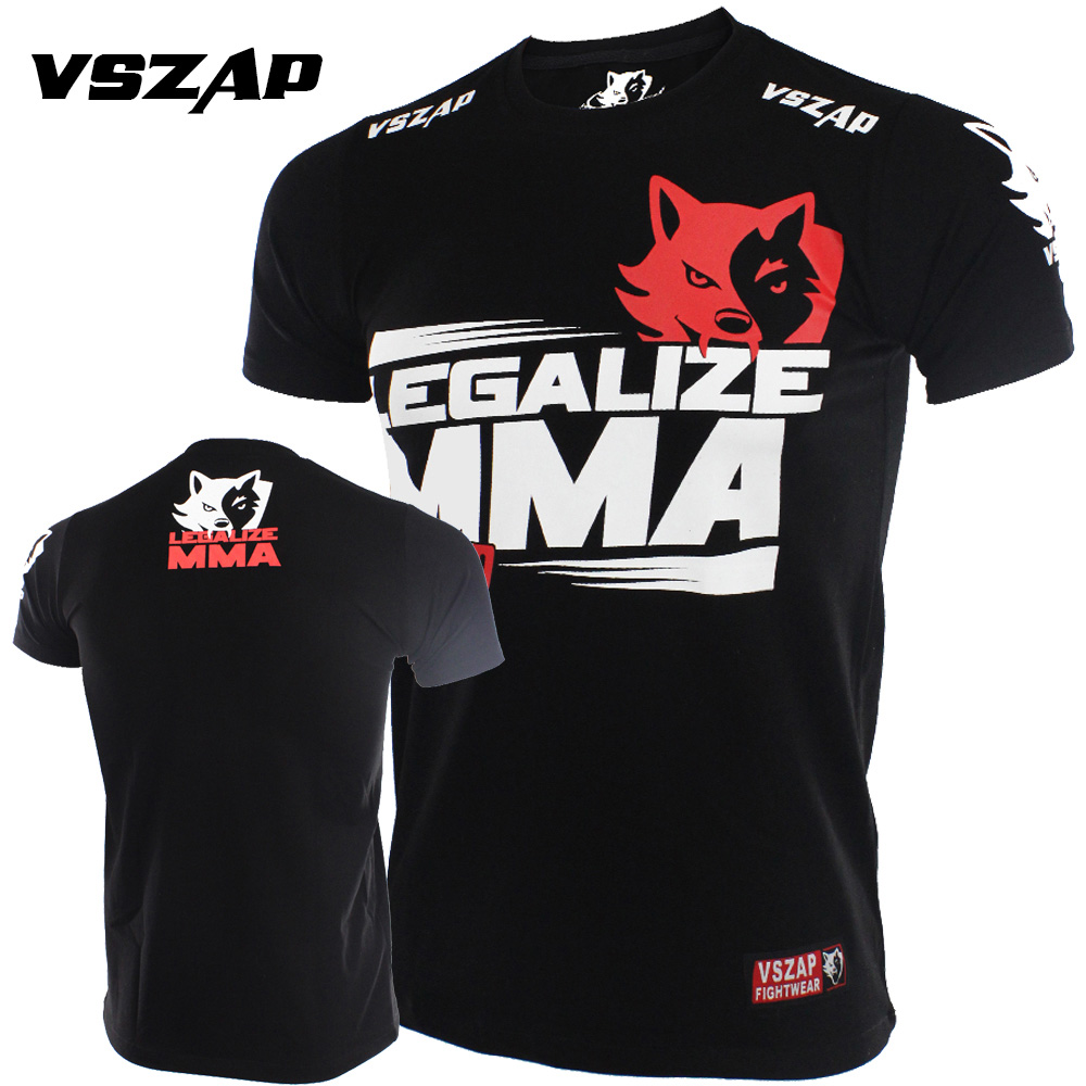 VSZAP T Shirt Men Gym Kickboxing Muay Thai Boxing Training Cotton Breathable