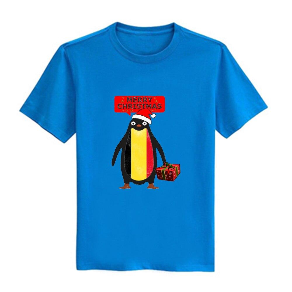 Gresanhevic Mens Belgium Penguin say Merry Christmas T-shirts Short Sleeve Man Clothing