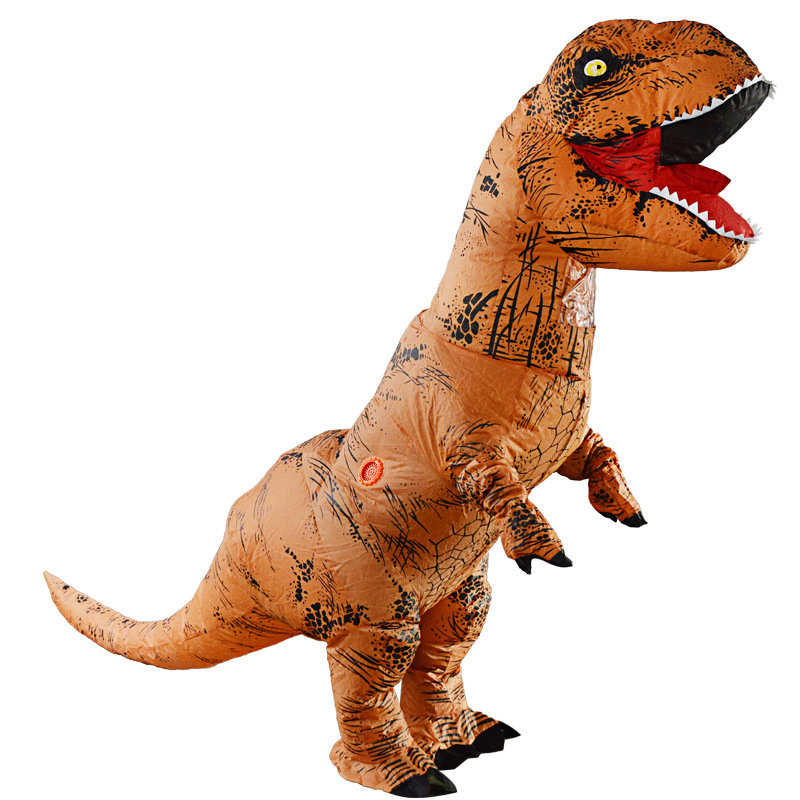 Adult T-Rex Jurassic World Inflatable Dinosaur Costume Suit Party Props Dinosaur Cosplay Christmas Event Costume w/ 2 PCS Blower