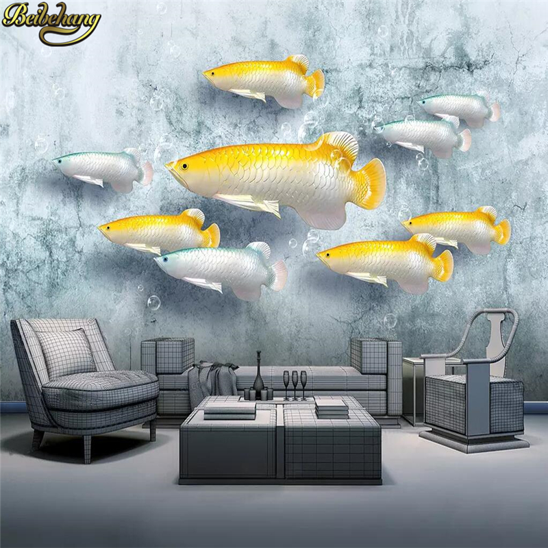 Beibehang 3d Flooring Stereoscopic Wallpaper TV Sofa Background Wall Papers Home Decor Background Embossed Fish Mural Wallpaper