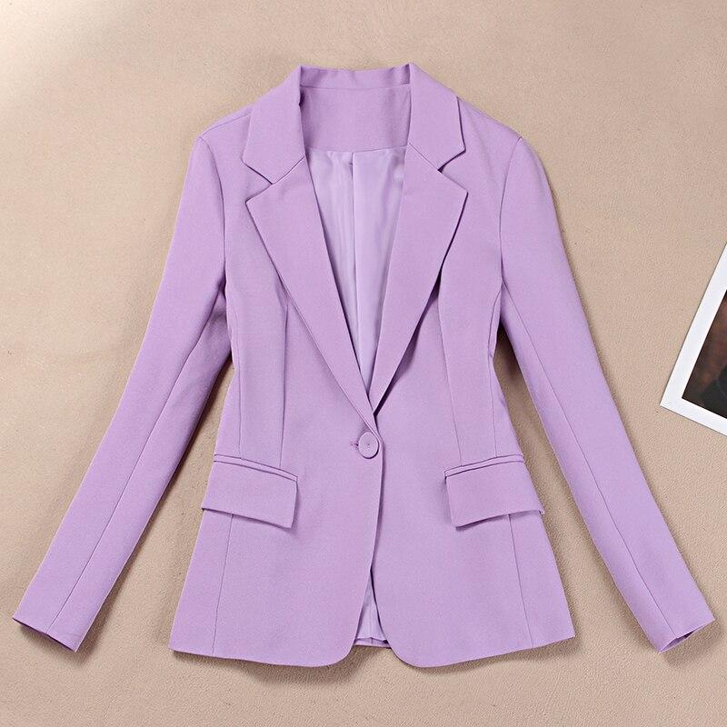 Маленький костюм женский темперамент фиолетовый костюм осенний профессиональный корейский тонкий женский пиджак 2019
