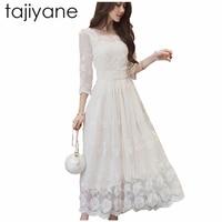 TAJIYANE 2018 Uzun Beyaz Elbiseler Kadınlar Zarif Çiçek Dantel Elbise Kat Orta buzağı Elbise Kadınlar Yarım Kollu Uzun Parti elbiseler LD115
