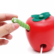 Fun Insects Eat Fruit Toys Wooden Fruit Block Stringing Beaded Line Wearing Rope Toy Early Educational Toy For Children Gift