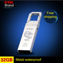 SSK SFD195 USB Flash Drive 100% 32GB Pen Drive Metal Waterproof Memory Usb Stick Free shipping