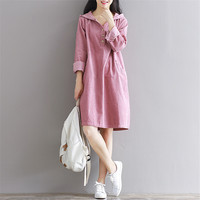 Spring Hooded Corduroy Full Sleeve Knee Length Vintage Robe Women Cotton Dress Casual Jurken With Buttons Pink Green TT2723