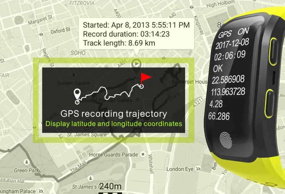 LEMDIOE Heart Rate Smart Wristband GPS Track Record Smart Band 2 Sleep Pedometer Bracelet Fitness Tracker Smart Watch Relogio 5