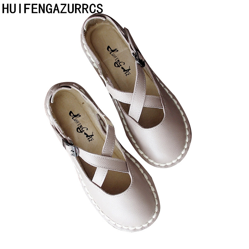 HUIFENGAZURRCS-New summer original art retro shoes Genuine leather shoes, leather straps cross Sen handmade shoes huifengazurrcs new genuine leather
