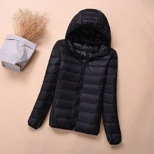 Image 3 - Hooded Down Jackets Winter Women Warm Coat Parka Female Ultralight Thin Down Jacket Duck Long Sleeve Portable Outwear 2020 6XL