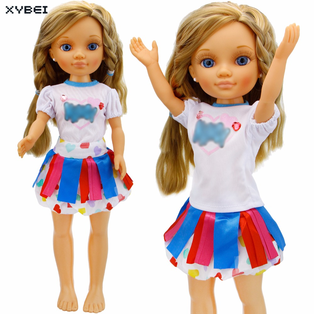 Fashion Tiered Skirt Wedding Party Dress Colourful Uniform Short Sleeve T-shirt Mini Gown Clothes For Nancy Doll Accessories Toy navy tiered design mini dress