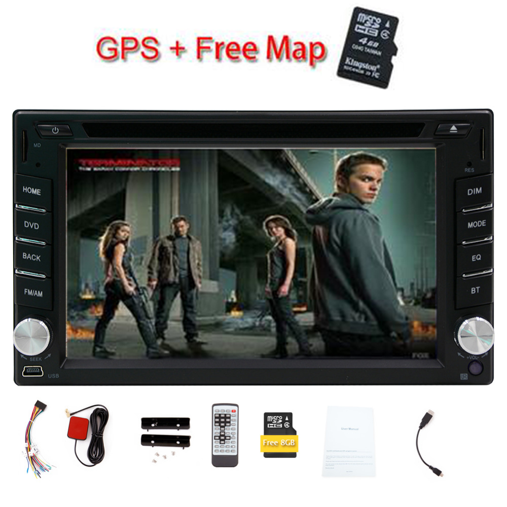 Двойной DIN в тире 6.2 дюймов HD 2 Дин DVD плеер с GPS навигации 8 ГБ карту автомагнитолы bluetooth WinCE 6.0 аудио стерео