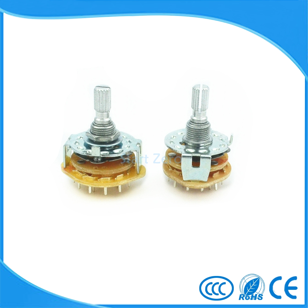 Shaft 6mm Panel Mount 2Wafers Rotary Switch Band Selector 1/2/3/4 Pole 3/4/5/6/11 Position RS25