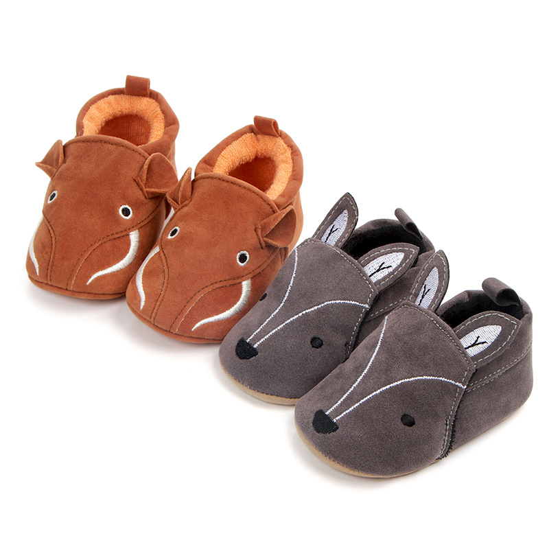 Baby First Walkers Baby Shoes Cute Cartoon Fox Elephant Toddler Shoes Soft Botton Non-slip Sneakers for Babies