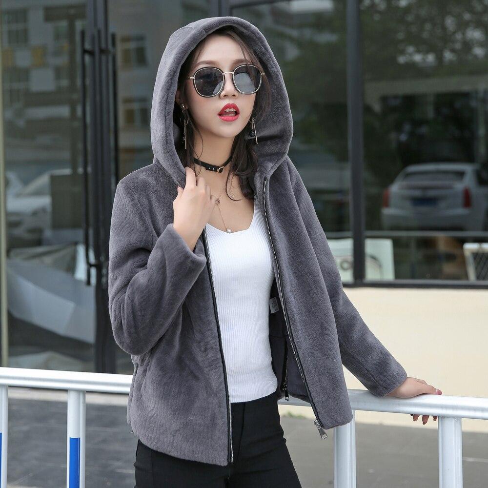 guapo tienda gran venta € 100.14 9% de DESCUENTO Chaqueta de pelo de cordero abrigo de piel corta  para mujer Abrigo con capucha de invierno 2018 abrigos de lana de oveja ...