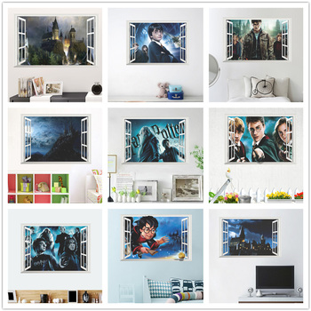 3d Window Wall Stickers For Kindergarten Kids Room Bedroom Home Art Pvc Wall Decal Decoration Diy Magic Movie Mural