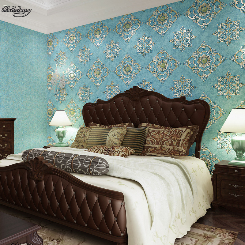 beibehang The new bronzing American retro ABd with wallpaper green nonwovens wallpaper bedroom living room full of wallpaper beibehang nonwovens healthy fashion