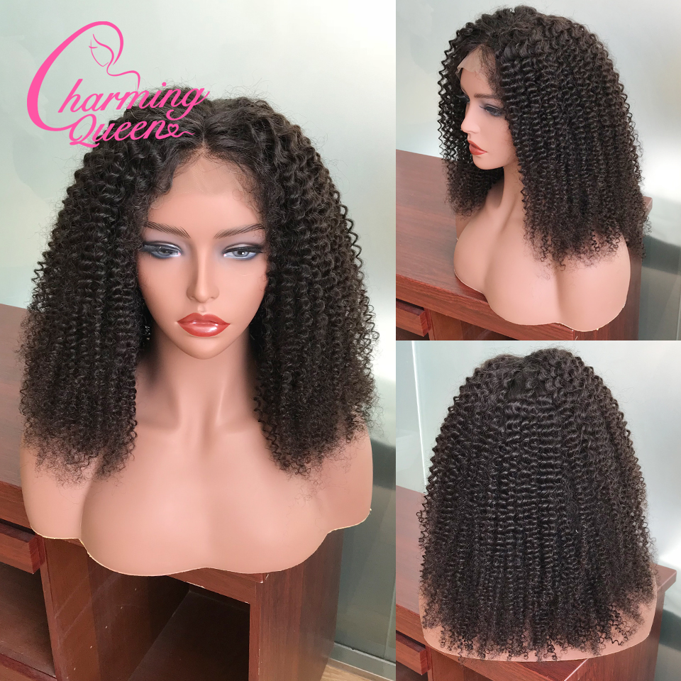 Brazilian Kinky Curly Lace Front Human Hair Wigs For Black Women 180 Density Pre Plucked Remy