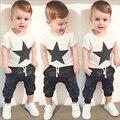 Roupas de bebê menino definir 2 pcs preto estrela de impressão de manga curta t-shirt top + calça crianças conjunto de roupas da menina do menino roupas garoto verão terno